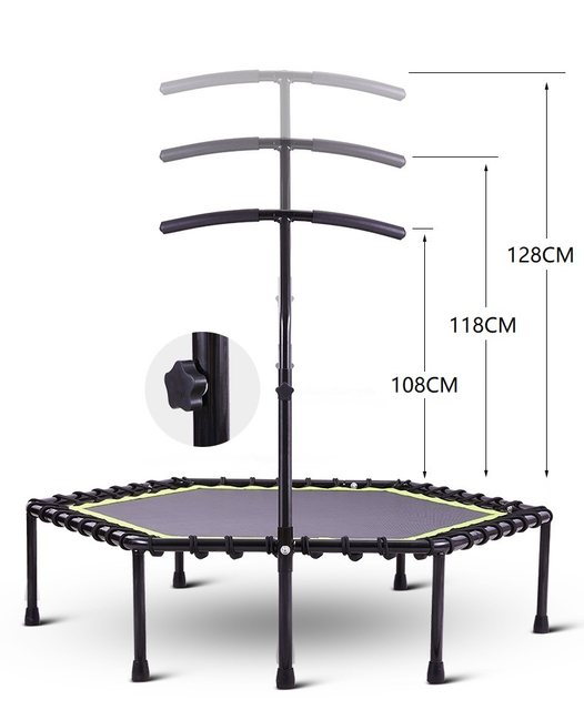 Fast Delivery Silent Mini Trampoline Adjustable Handle Bar Fitness indoor Trampoline Bungee Rebounder Rectangle Cardio Trainer